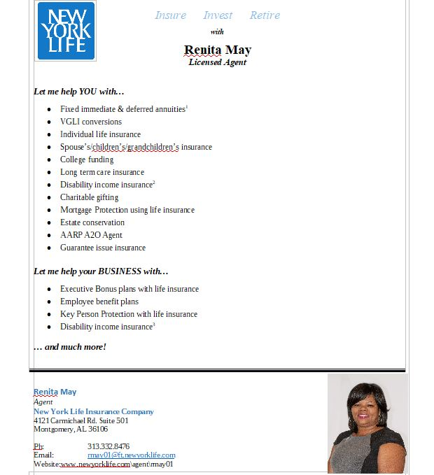 photo of New York Life Insurance flyer